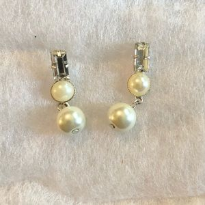 Pearl and False Diamond Dangle Earrings